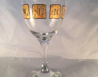 Scrabble Tile wine glass