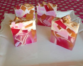 Pink Princess Soap - Pink Soap - Gold Soap - Pink Grapefruit - Gemstone Soap - Handmade Soap - Gift For Her - Party Favor