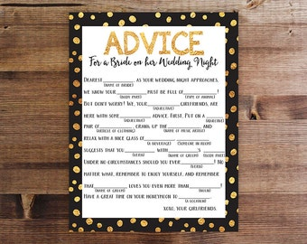 Wedding Night Mad Lib | Bachelorette Party Printable Game | Advice for the Bride on her Wedding Night | Download and Print | Printable Game