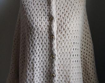 Vintage 1960's Button-Up Cream Colored Macrame Cape Coat