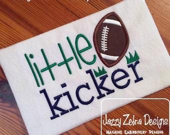 Little Kicker Appliqué Football Saying Embroidery Design - football appliqué design - boy appliqué design
