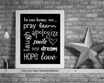 In Our Home Sign, Family Rules, Family Sign, Family Art Print, In This Home We, In This House, We Do Love, In This Family Gift Idea