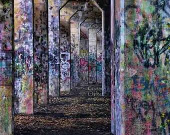 Graffiti Print, Urban Decor, Street Art, Graffiti Art, Archway, Urban Decay, Purple, Pink, Blue, Home Decor, Colorful Wall Art