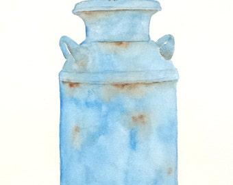 "ORIGINAL Watercolor Chickadee Painting & Old Milk Can 8""x10"", Chickadee Sketch, Watercolor Bird Art, Spring Art, Chickadee Art, Nursery Art"