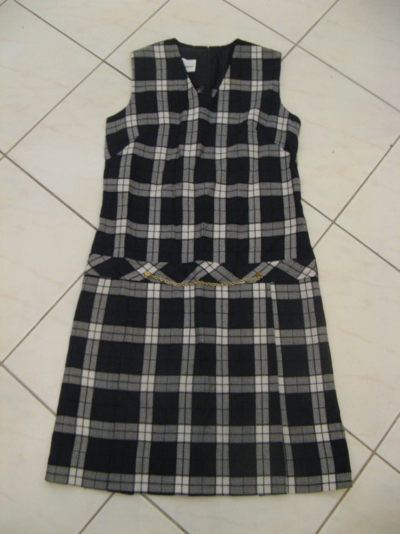 RESERVED intage 60s 70s Black & White Plaid Check Shift Dress Sz US 6 8 Aus 10 12