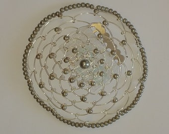 Beaded Kippah in Lite Grey Pearl with Silver Wire