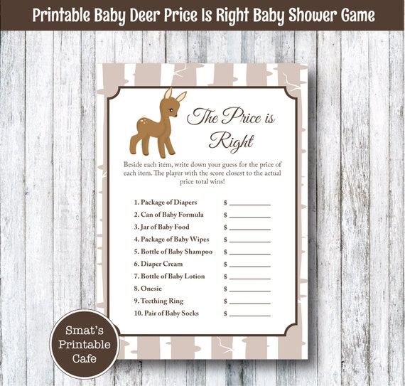 Price Is Right Game PRINTABLE Baby Deer Baby Shower Game