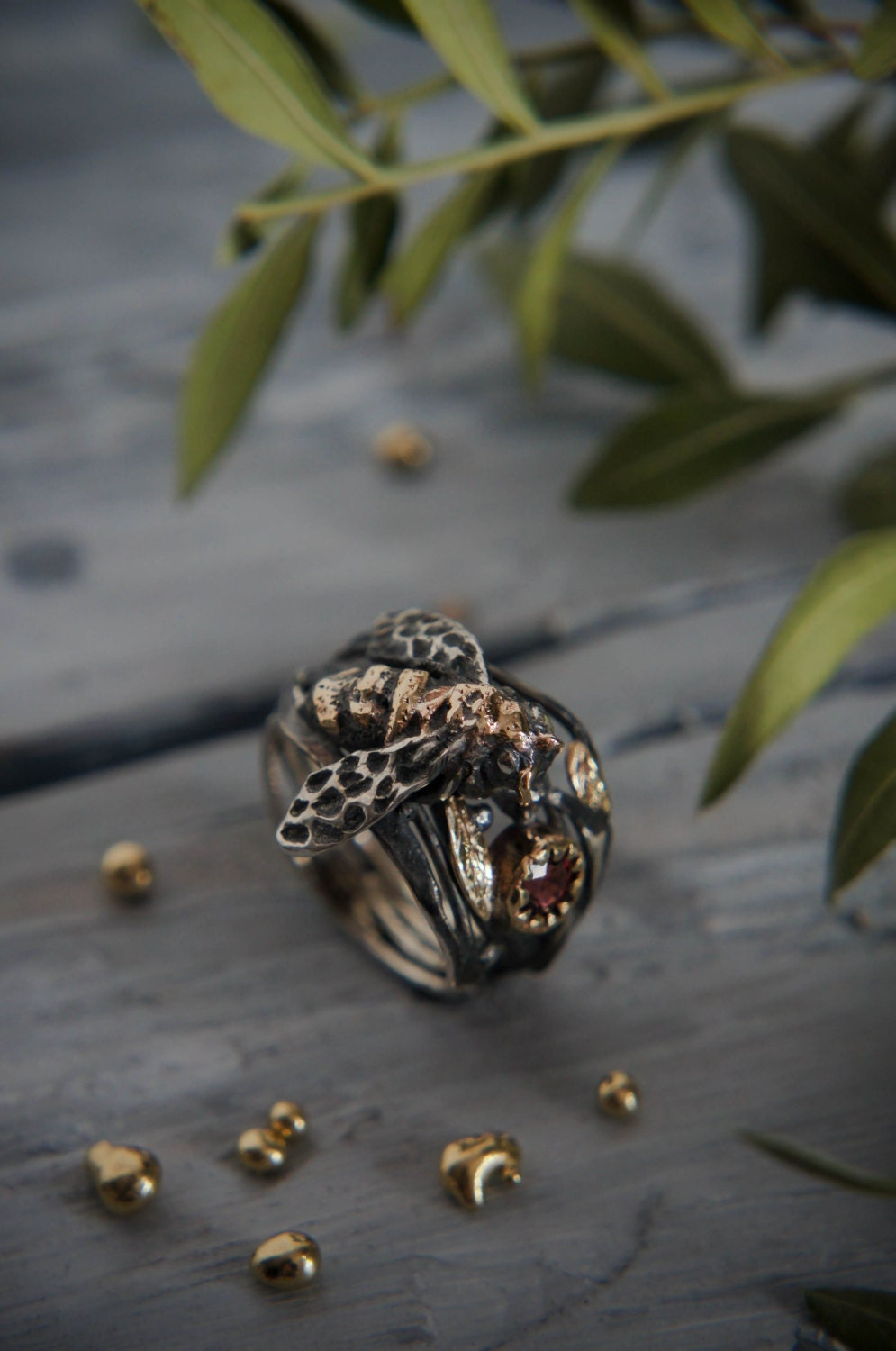 silver and gold ring bee ring bee jewelry zircon