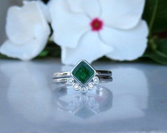 Emerald Engagement Ring, Diamond Wedding Band, Bridal Set in 14kt, One of a kind