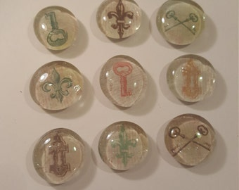 Lot of 9 various key glass pebble magnets