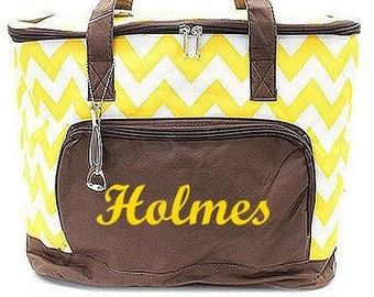Monogrammed Cooler  Yellow and Brown Chevron Insulated Monogrammed Cooler Bag  Personalized Tailgating Cooler