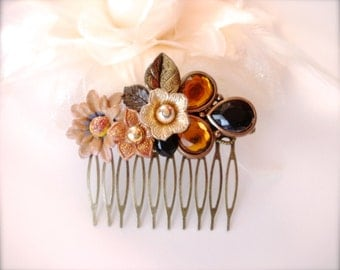 Topaz Rhinestone Floral Antique Brass Filigree Hair Comb, Flower Hair Comb, Vintage Style Pink Rose Hair Comb, Wedding, Rustic Hair Comb