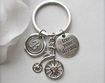 Personalized Keychain, Live Your Dream Bicycle Charm Initial B Keychain, Bicycle Silver Key Holder, Initial B Bicycle Charm Key Ring, Gift