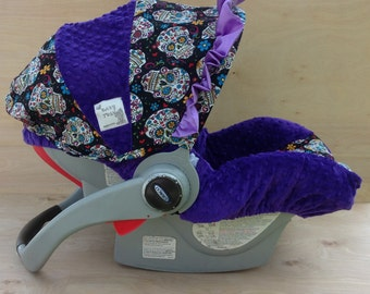 Infant Car Seat Cover- Flokoric Skulls/ Purple
