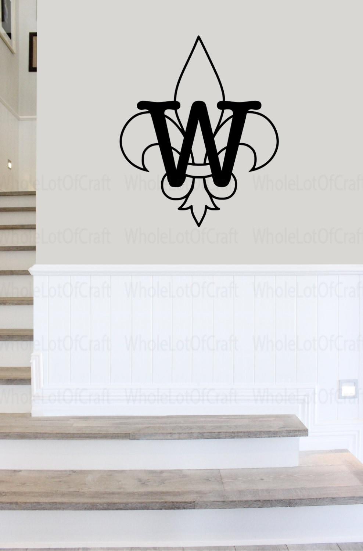 Fleur De Lis Monogram Decal Vinyl Wall Decal Monogram Home