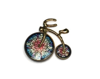Glitter Trike Brooch, Bicycle Pin, Toy, Bike, Tricycle,