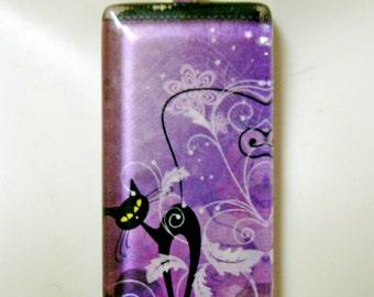 Black cat on purple pendant and chain - CGP02-125