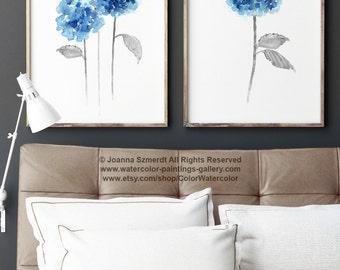 Blue Hydrangea Rustic Wedding Flowers Set of 2 Home Decor, Hydrangeas Giclee Fine Art Print, Flower Painting Housewarming Gift