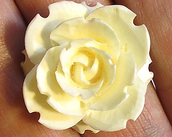 1 Carved Bone Flower Cabochon