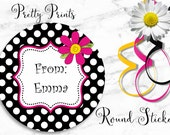 Birthday Stickers - Dots - Black, Hot Pink, Flower, Set of 12 - Round Labels - Custom Labels - Tags - Personalized Labels - Back to School