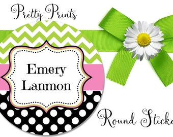 Round Stickers - Personalized Stickers - Chevron - Dots, Black, Lime Green, Pink, Round Labels - Personalized Labels - Tags, Stickers