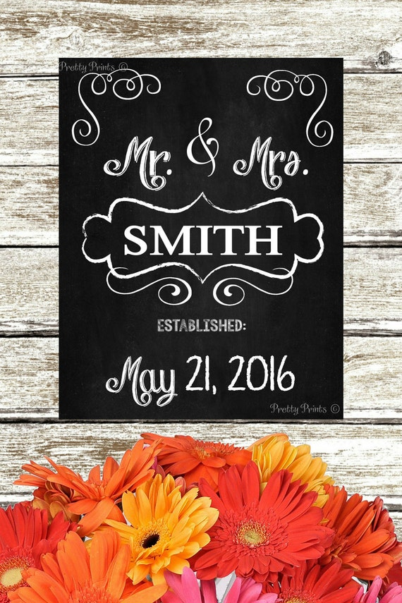 Personalized Chalkboard Art - Mr. and Mrs. - Family Name - Digital Print