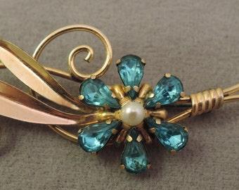 12k Gold Fill Signed Van Dell Flower Pin 1950-60s