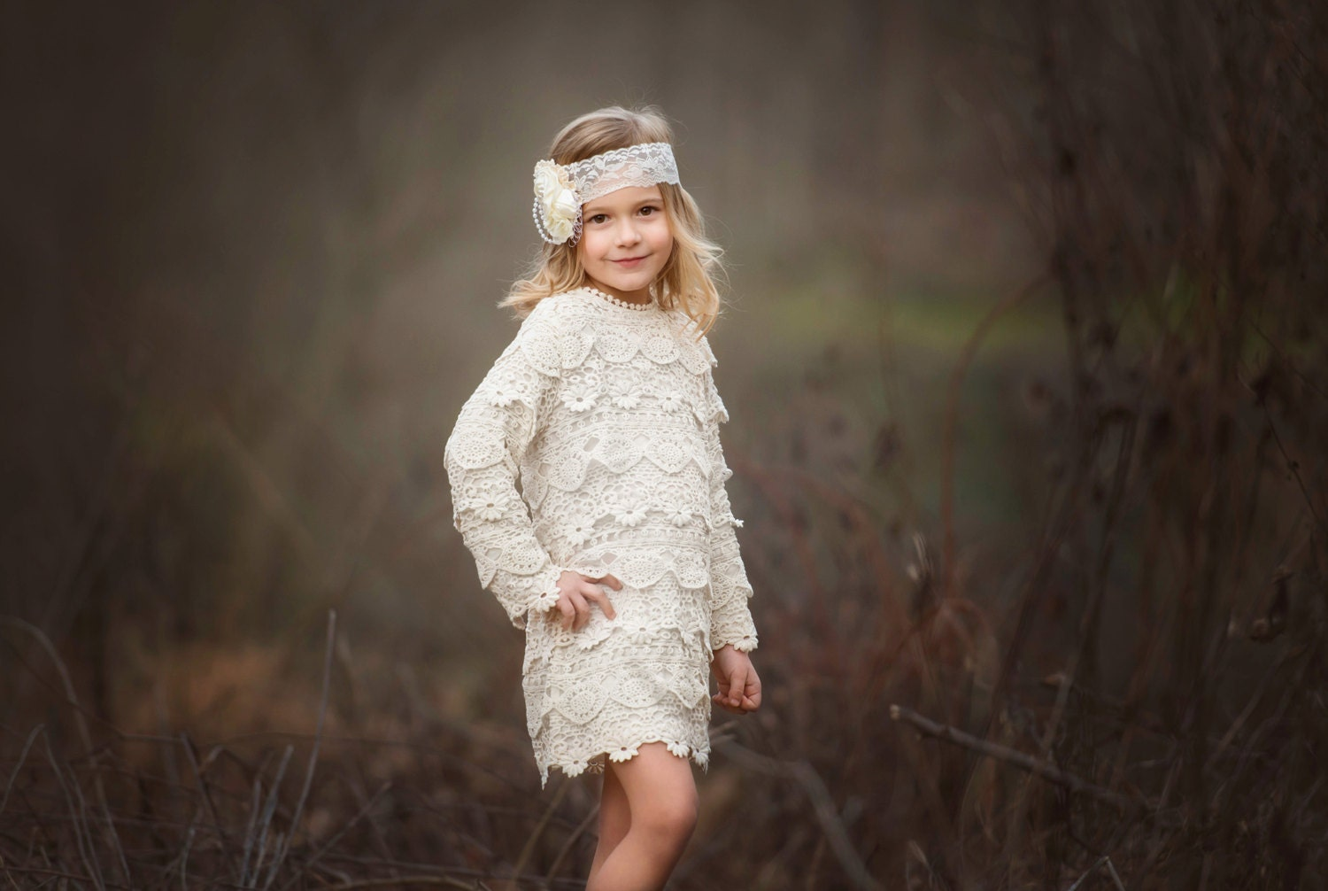 lace baby dress rustic flower girl dress lace by CountryCoutureCo