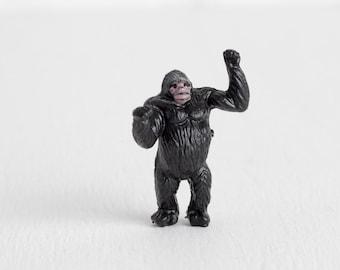 Vintage Standing King Kong Terrarium Miniature, Tiny Jungle Animal Toys, Gorilla Figurine