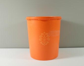 Vintage Tupperware Servalier Canister orange with Lids