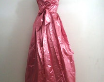 80s does 50s Pink Metallic Lurex Strapless Prom Princess Dress Size XS S 5/6 by Contempo Casuals