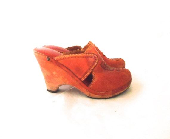60s 70s clogs platform wedge wood leather loafer heel