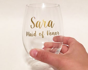 Custom Name & Title Maid of Honor - Bridesmaid Stemless Wine Glass / Wedding Gift / Bridesmaid Present