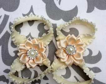 Ivory Baby Barefoot Sandals,Cream Baby Shoes, Ivory Baby Shoes, Baby Shoes,Flower Girl Shoes, Cream Baby Sandals