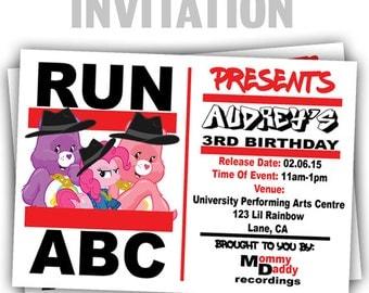 858: DIY - Run ABC 3 Party Invitation Or Thank You Card