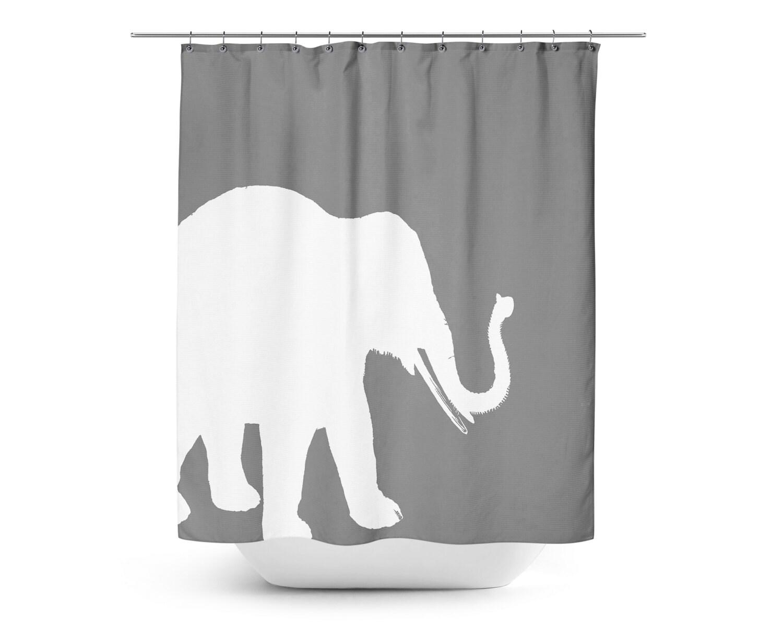 Elephant shower curtain grey white art bathroom accessories for Elephant bathroom accessories