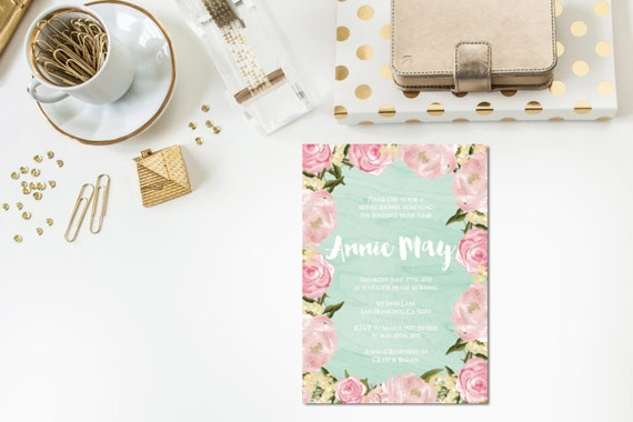 Mint Blush Bridal Shower Invitation