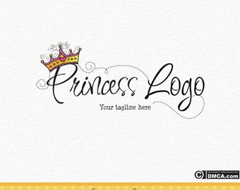 Premade Princess Logo, Tiara Logo, Princess Crown Logo Design, Fairytale Logo, Watermark, Girls Logo, Fancy Dress Logo, Children's Parties