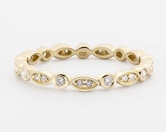Art Deco Diamond Eternity Ring 2.3mm .20ctw solid 14k 18k pt950 Platinum wedding ring, eternity band, bazel setting, w-r105