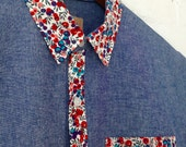 Blue Cotton Oxford Buttondown with Pink and Blue Floral Detail // Medium