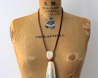 Indigo Dyed Tassel Necklace