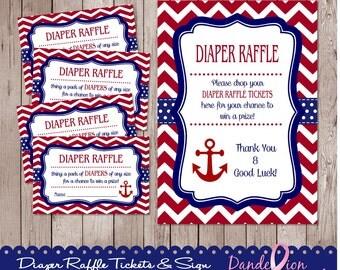 Red Blue Nautical Anchor Baby Shower Digital DIY Diaper Raffle Tickets Sign
