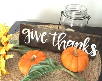 """Give thanks / 3.5x12"""" hand-painted wood sign / fall decor / thanksgiving decor •• happyplaque"""