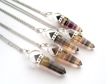 Silver Fluorite Necklace Rainbow Fluorite Pendant Fluorite Jewelry Crystal Point Pendant Necklace Natural Stone Chain Green Mineral Jewelry