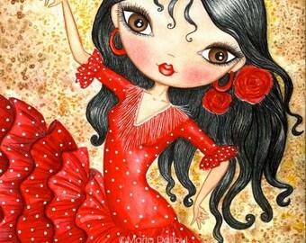 Flamenco Dancer Art print. Spanish girl whimsical painting. Spain flamenco doll watercolor art. Red dress illustration. Flamenco lover gift.