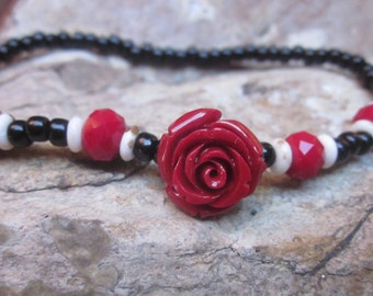 anklet beaded anklet stretch anklet Red acrylic rose white bone beads faceted red glass Black glass seed beads bohemian stretch anklet