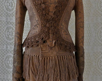 Sale!!SHORT CARDIGAN JACKET cardigan fleece crochet gypsy Steampunk Pixie Tribal