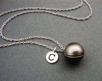 Round Silver Ball Locket Necklace, Brushed Silver Ball Locket, Silver Ball Bangle Bracelet, Ball Sphere Locket Keychain, Initial Necklace