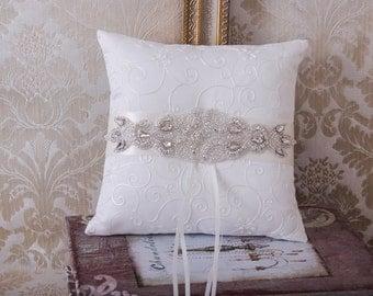 Rhinestone Ring Bearer Pillow, Wedding Pillow, Wedding Ring Pillow, Wedding Ring Bearer, White or Ivory Ring Cushion