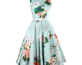 Blue dress, Floral dress, Full skirted dress, Country dress, Pleated skirt, Over knee length dress, Made to size dress, Printed dress MS39